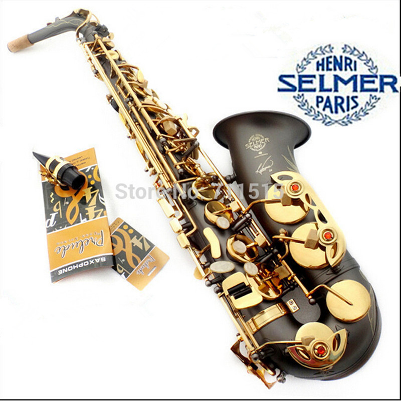 France Henri Selmer R54 Saxophone Alto Instruments Musical Professional Black Nickel Sax Alto Gold Bonded Grind Arenaceous alto saxophone selmer 54 brass silver gold key e flat musical instruments saxophone with cleaning brush cloth gloves cork strap