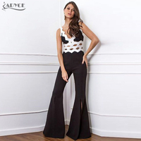 Adyce 2017 New Women Summer Fashion Jumpsuits Black White Hollow Out Sleeveless V Neck Boot Cut