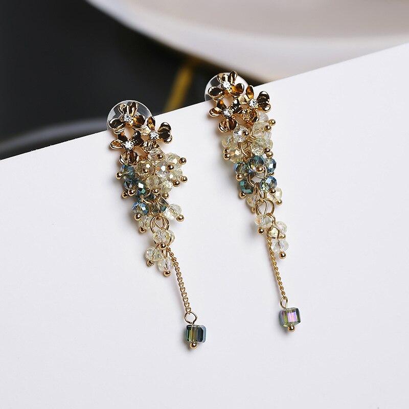 MENGJIQIAO 2018 New Handmade Metal Flower Crystal Beads Tassel Earrings For Women Accessories Fashion Jewelry Long Pendientes