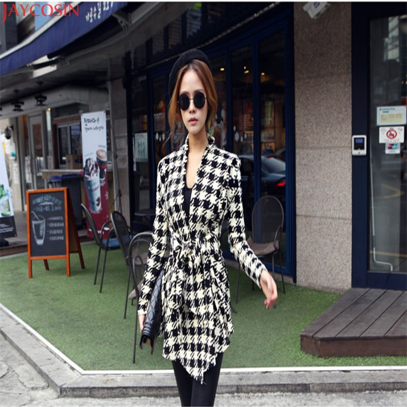 women jacket women basic coats plus size Korean Womens Houndstooth Pattern Thin Cardigan Coat Jacket Outwear TJ 1