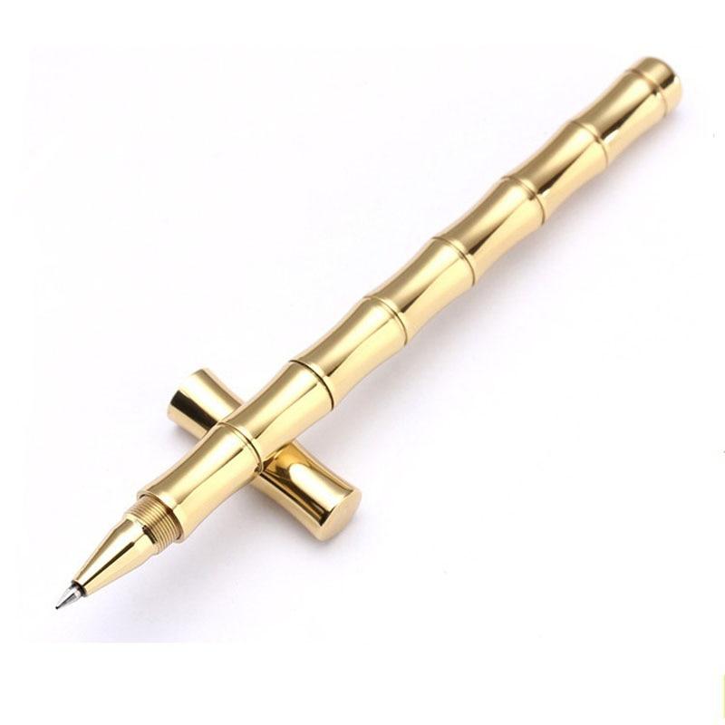 Bamboo Shape Brass Tactical Pen Useful EDC Tool Women Outdoor Portable Self Defense Tools Detachable Functional Write Pen