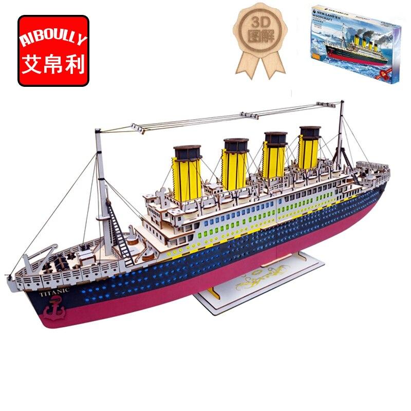 Coloré Titanic Modèle Enfants jouets 3D Puzzle jouets en bois Puzzle En Bois jouets Éducatifs pour Enfants Cadeau De Noël