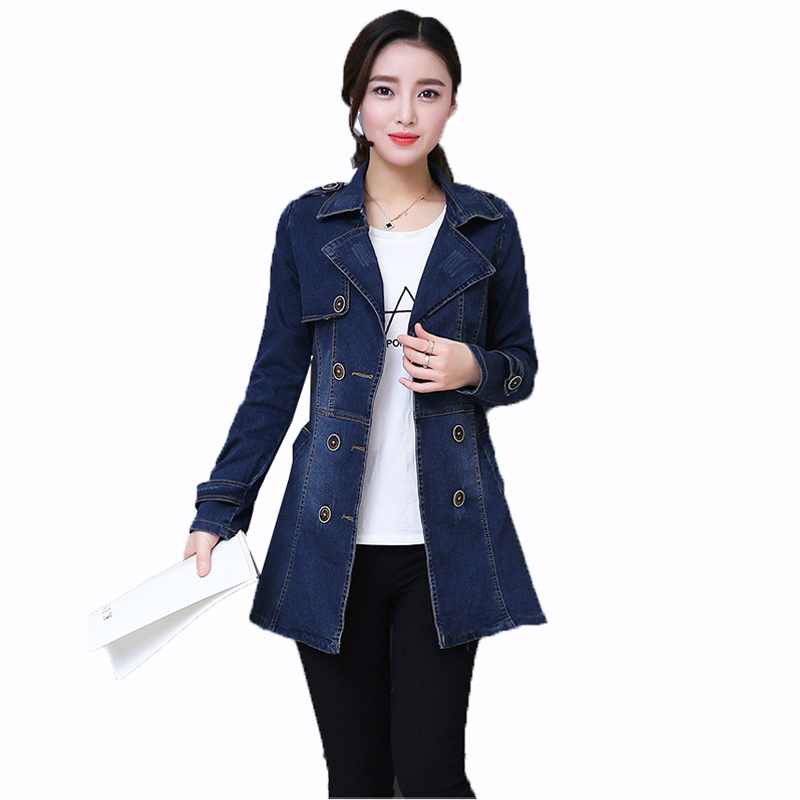a88923998664bb OLN 2019 Women Denim Jacket Plus Size Female Coat Double Breasted Korean  fashion Ladies Coat Casual