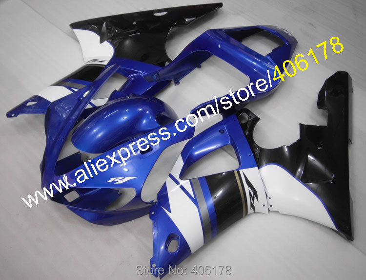 Hot Sales,For YAMAHA 2000 YZF-R1 2001 YZFR1 black white blue YZF R1 00 01 body work fairing kit (Injection molding)