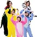 Año Nuevo de Una Pieza de Invierno Pijamas de franela Adultos Mujeres Pijama de Dormir de la Historieta Animal Puntada Unicornio Onesies Capucha Lindo