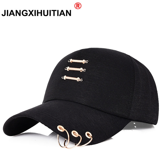 cdacdbe4751 New Iron Ring Cap Women Baseball Cap With Rings Gold Color Snapback Hip Hop  Hats For Women Men Dad Hat Kpop Dropshipping Gorras