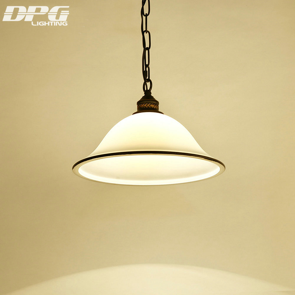 Modern LED White Iron Kitchen light fixture Hanging lamp with Glass Lampshades E27 110v 220v for Dinning Room