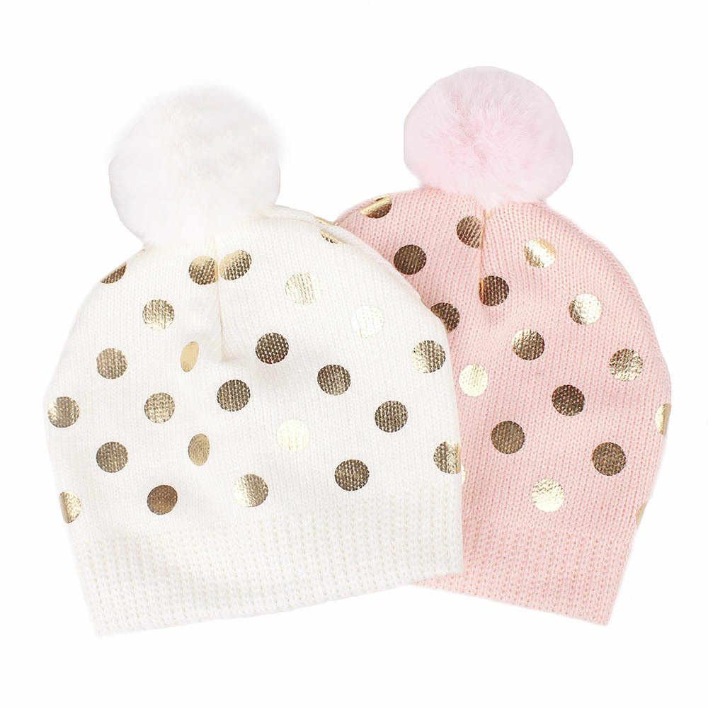 เด็กทารกฤดูหนาวหมวก Dot กับ Hairball เด็กหมวกเด็กน่ารักเด็กหญิงหมวกเด็กแรกเกิดอุปกรณ์เสริม Beanie