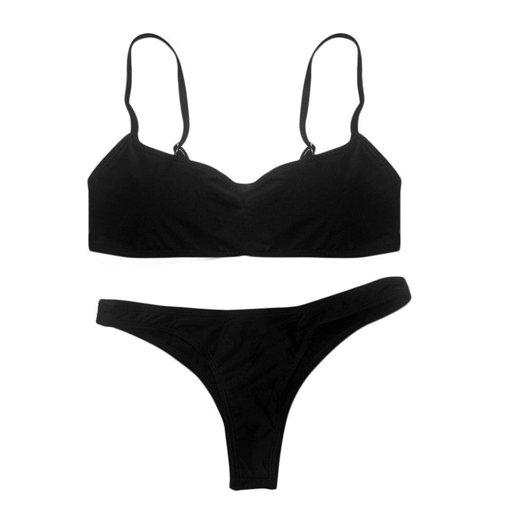 2019 New Summer Women Solid Bikini Set Push-up UnPadded Bra Swimsuit Swimwear Triangle Bather Suit Swimming Suit biquini