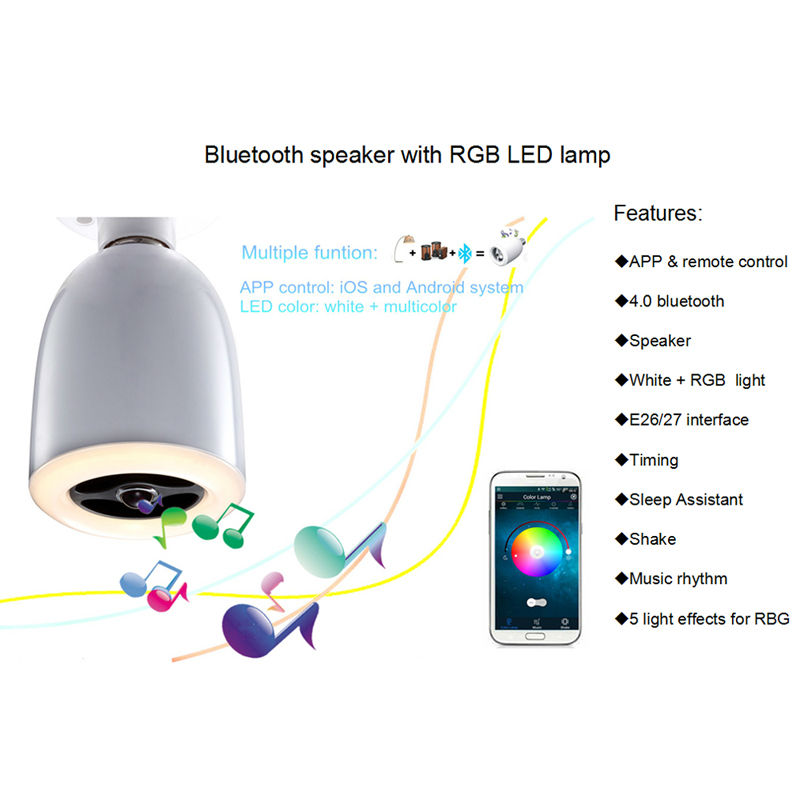Apps Wireless Bluetooth LED Light Bulb E27 9W Lamp with Audio Speaker Music Playing Controlled by Mobile Phone Tablet Notebook