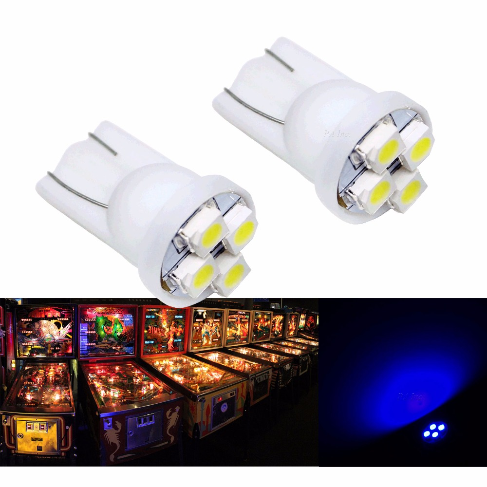 PA LED 30PCS x T10 #555 4SMD Auto Car Lamp Dashboard Light for Pinball Machine 3528 6.3V White/Red/Green/Blue/Yellow/Purple/Pink uxcell 10 pcs ice blue 3020 smd led vehicles car dashboard dash light lamp internal