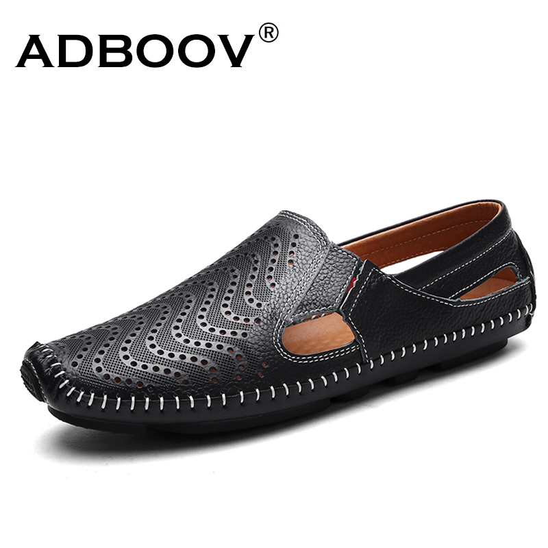 ADBOOV 2018 New Cow Leather Men Shoes Spring Summer Breathable Casual Shoes Mens Flats Loafers Driving Shoes Big Size 39-47 new 2017 summer brand casual men shoes mens flats luxury genuine leather shoes man breathing holes oxford big size leisure shoes
