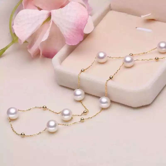 18K Yellow Gold Natural Freshwater Pearl Necklace