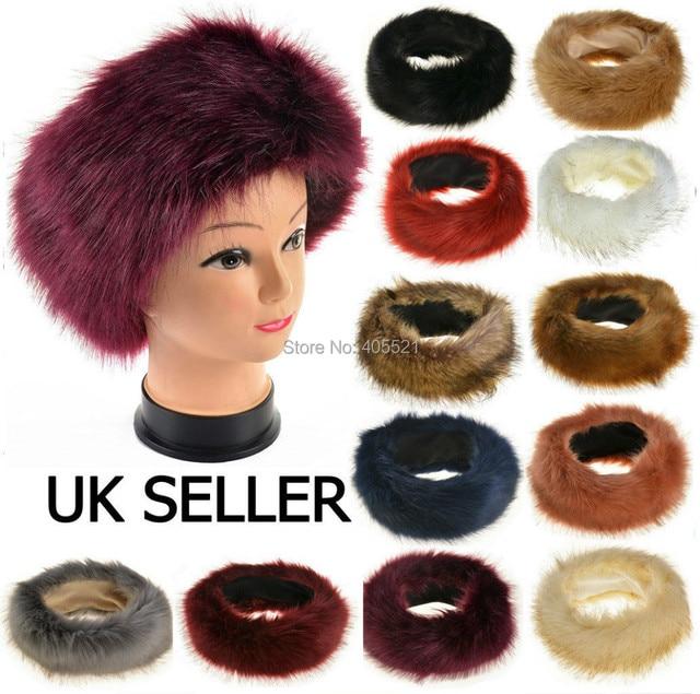 85f8a9cc9cf Women Girls Large Thick Faux Fake Fur Headwear Euramerican Headband Winter  Warm Ski Hat Plush Head