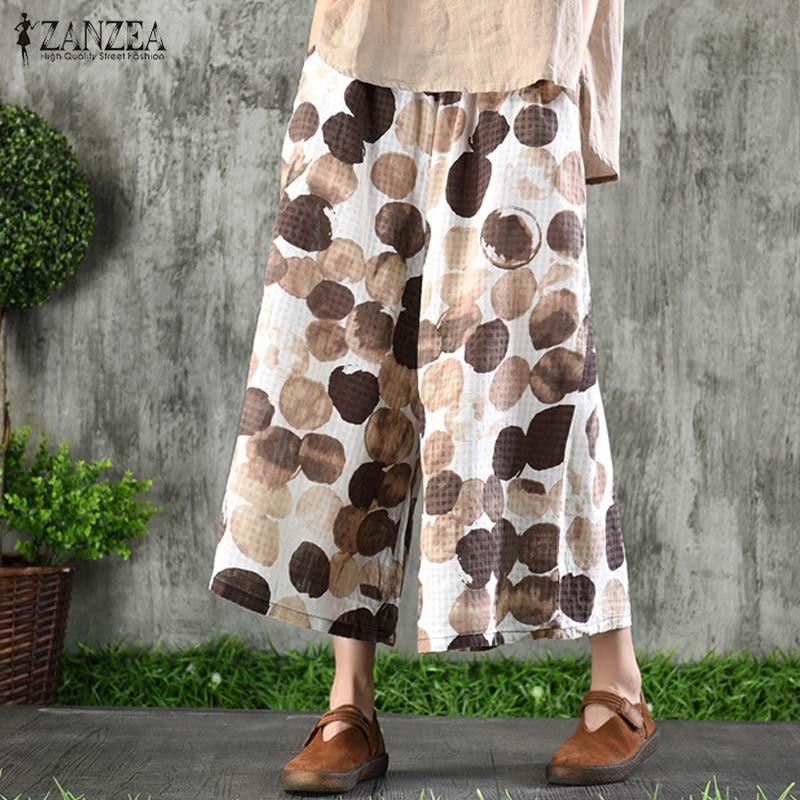 Women's   Wide     Leg     Pants   2019 ZANZEA Casual Polka Dot Printed Trousers Summer Elastic Waist Pantalon Cropped Trousers Plus Size