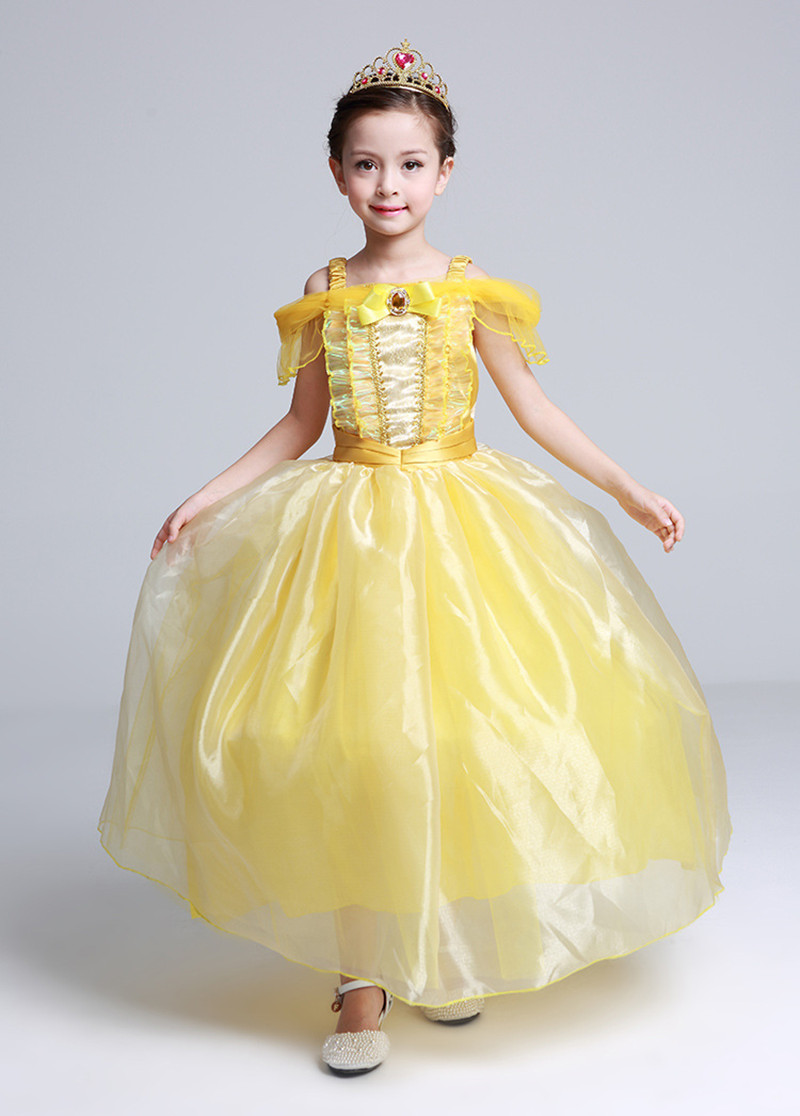 Aliexpress.com : Buy 2017 Yellow Fancy Princess Belle Dress Beauty ...