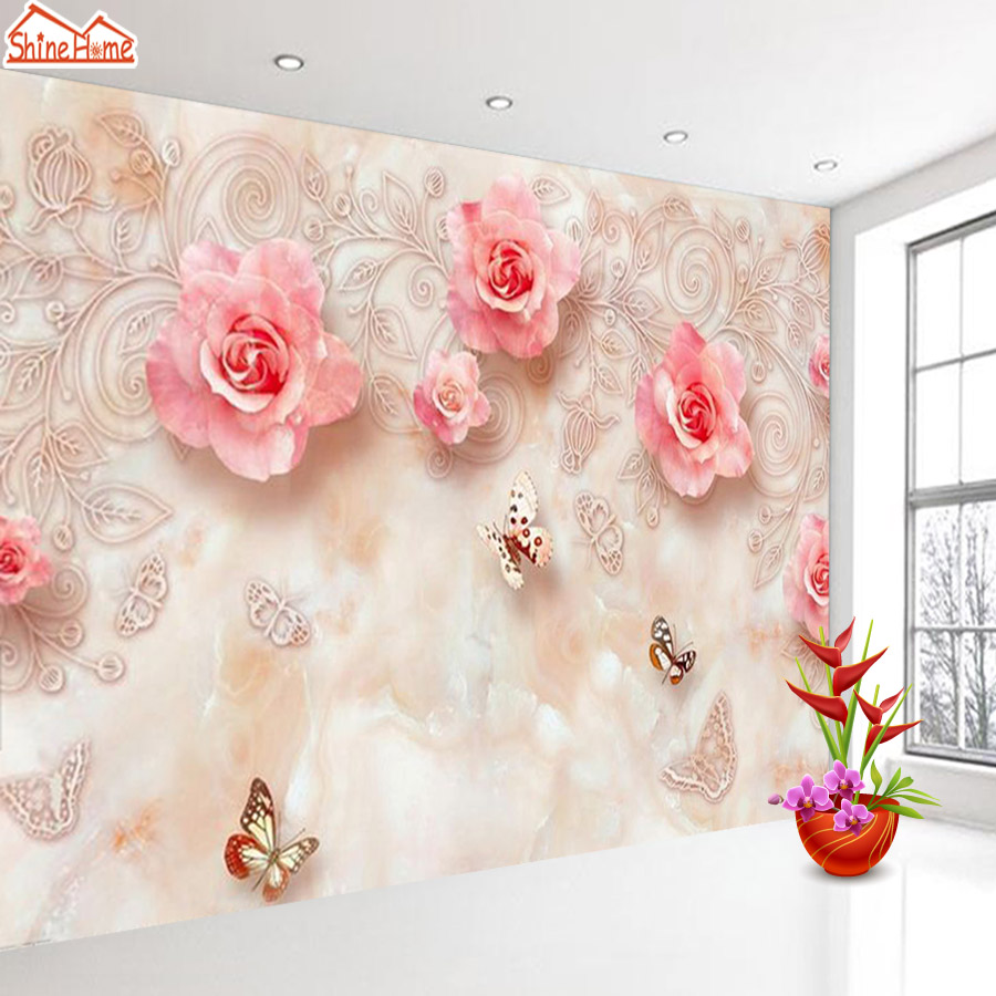 ShineHome-3d Room Embossed Rose Floral Wallpaper Rolls Wall Paper Murals for Walls 3 d Wallpapers for Livingroom Mural Roll shinehome 3d room floral wallpaper nature brick wallpapers 3d for walls 3 d livingroom wallpapers mural roll wall paper covering