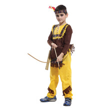 Kids Child Indian Prince Native Hunter Archer Cosplay Costume for Boys Halloween New Year Carnival Mardi Gras Party Outfit
