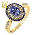 GemStoneKing Solid 925 Желтого Золота Гальваническим Серебряное Кольцо 1.55 Карат Фиолетовый Танзанит Синий Мистик Топаз женщин Старинные Кольца