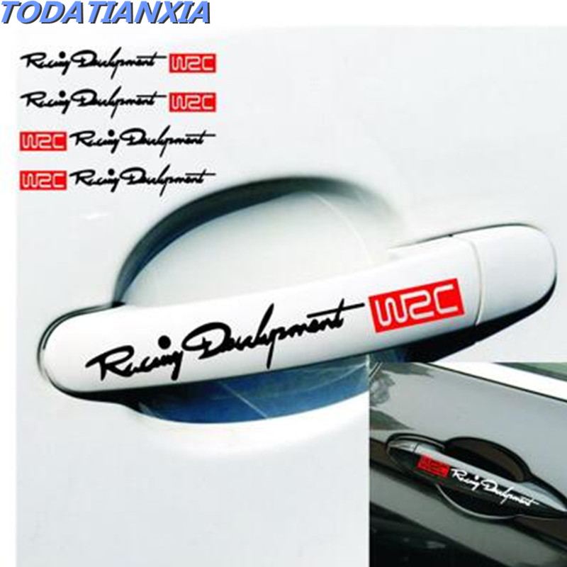 4pcs/set <font><b>Door</b></font> <font><b>Handle</b></font> Stickers And Decals FOR GOLF 4 5 6 Touran Bora Tiguan Peugeot 307 206 308 407 <font><b>Ford</b></font> <font><b>Focus</b></font> 2 3 Fiesta Mondeo image