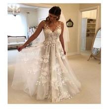 smileven A Line Wedding Dress Backless Appliques Tulle Vestidos de novia 2019 Bridal V Neck Sleeveless Gowns