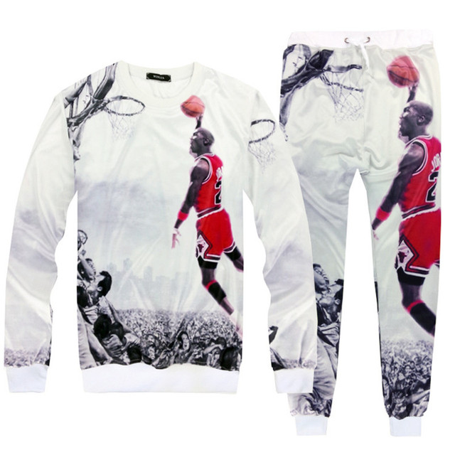 0fd174ac57e4f1 New Womens Mens sweat suits classic Jordan slam dunk Print 3D sweatshirts  joggers+hoodies Fashion Unisex Tracksuits streetwears