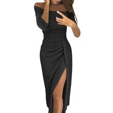 winter dress women Sexy Club shiny slit push up slash neck party formal long black red vestidos dresses woman