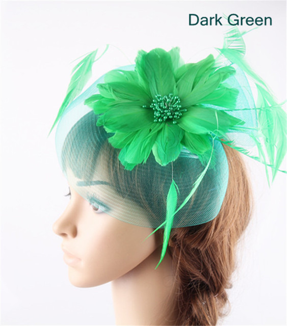 Dark green feather flower fascinators hat Crinoline wedding hat hair comb  with royal race party feather headwear Multiple colors f37871fa811