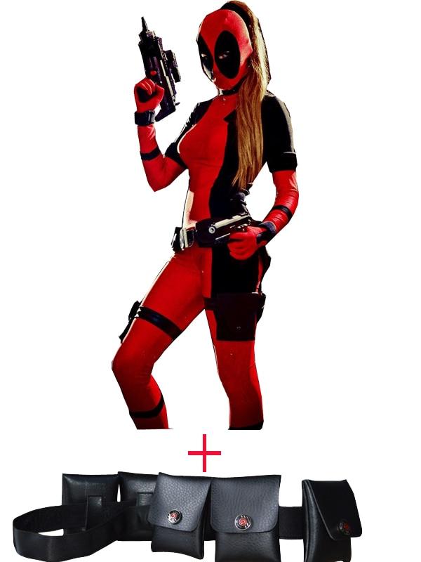 Traje negro y rojo de Lady Deadpool Spandex y cinturón de disfraces - Disfraces
