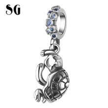 SG Fit pandora Bracelet New 925 sterling silver Cute tortoise Charms Blue Stone Animal Pendant beads for Women DIY Jewelry