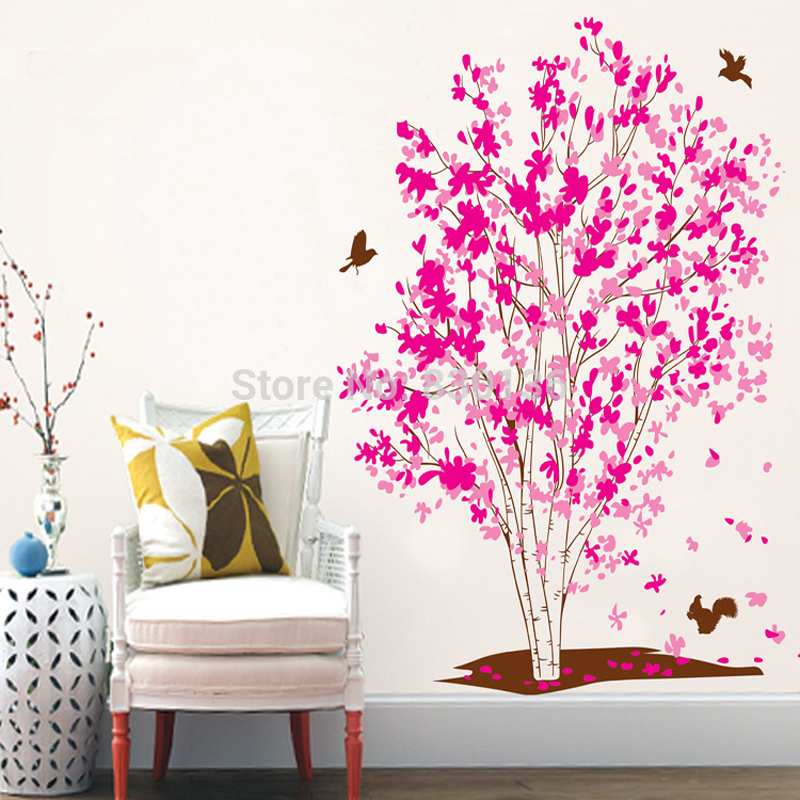 Rose Red Maple Tree Wall Sticker DIY Wall Decorations Living Room Bird Wall Decals Wall Stickers For Kids Rooms -in Wall Stickers from Home u0026 Garden on ...  sc 1 st  AliExpress.com & Rose Red Maple Tree Wall Sticker DIY Wall Decorations Living Room ...
