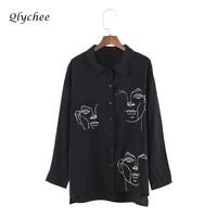 Qlychee Apparel Blouse Women Clothing Face Print Shirt Turn Down Collar Long Sleeve Tops Elegant Long