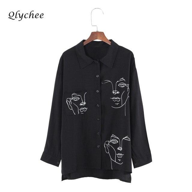 Qlychee одежда Шифоновая блузка рубашка женская одежда лицо рубашка с принтом отложной воротник Топы с длинными рукавами Элегантное Длинное рубашка Blusas