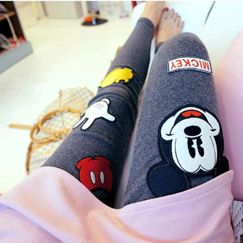 Spring New High Waist Women Leggings Harajuku Kawaii Cartoon Mickey Mouse Pants Wear Elastic Large Size Women Feet Pants