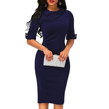 2018 new ladies lapel straight dress autumn short-sleeved knee-length dress dark blue red party dress vestidos