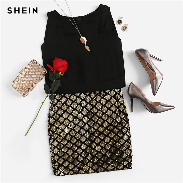 SHEIN Party Women Dresses Multicolor Sleeveless Zipper Back Contrast Sequin  Sheath Dress Two Tone Sparkle Combo Dress