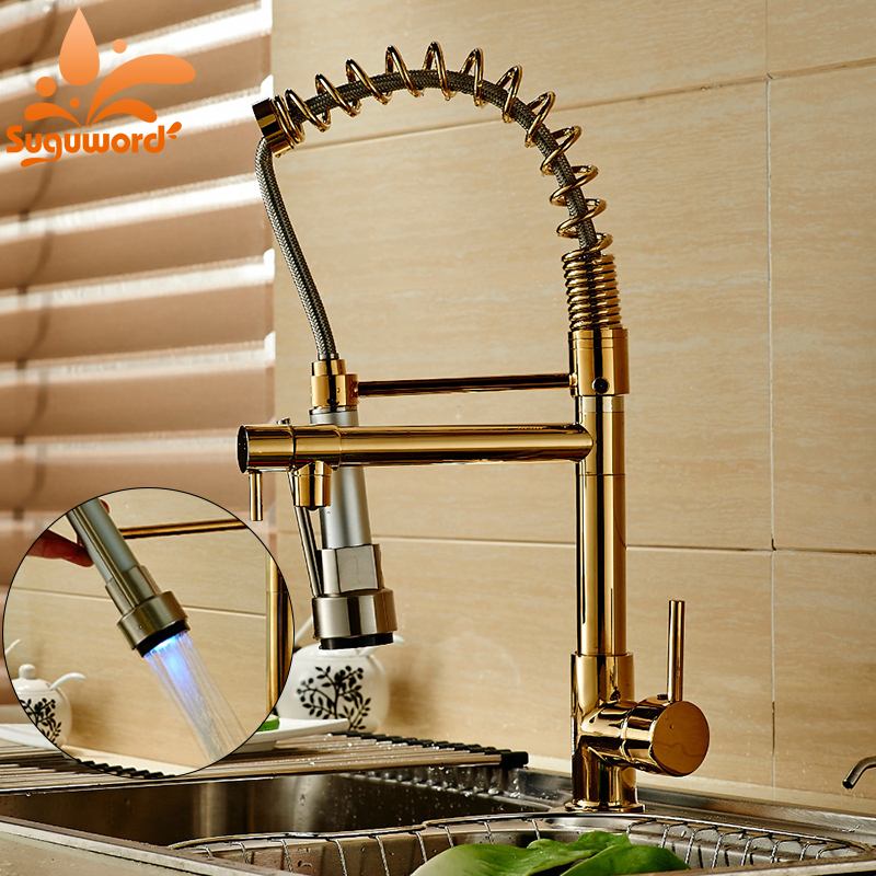 LED Light Pull Down Spray Kitchen Sink Faucet Swivel Spout Mixer Tap Gold Finish luxury led light pull down spray double spouts kitchen sink faucet brushed nickel finish