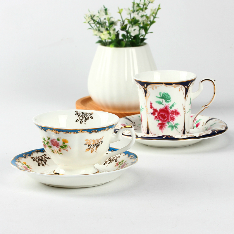 Bone China Tea Coffee Cup And Saucer Set Ceramic Creative British Red Gold Afternoon Free Shipping