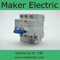 Dz47 Circuit Breaker DZ47LE 63 2P C50 DIN Rail Mounted 2p Earth Leakage Circuit Breaker Chint