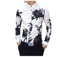Men S Fashion Boutique Casual Flowers Shirt Youth Noble Large Size Cool Choice