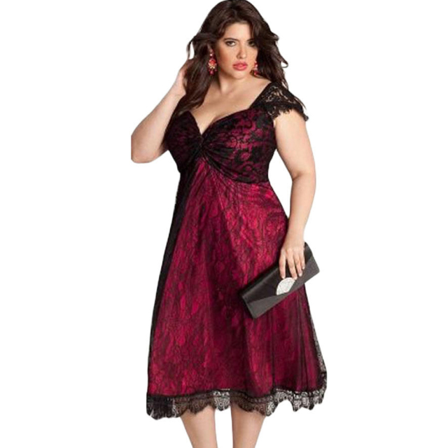 f0fa369c928b0 5Xl Plus Size Dress Sexy Lace Dress V Neck Black Wine Red Summer Dress 2018  Party Robe Femme Elegant Dresses Large Sizes