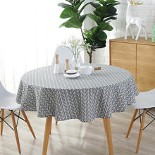 Modern Gray 150CM Round Table Cover Cotton Linen Tablecloths Nordic Style Yellow Chessboard Home Decorative Round Table Cloths(China)