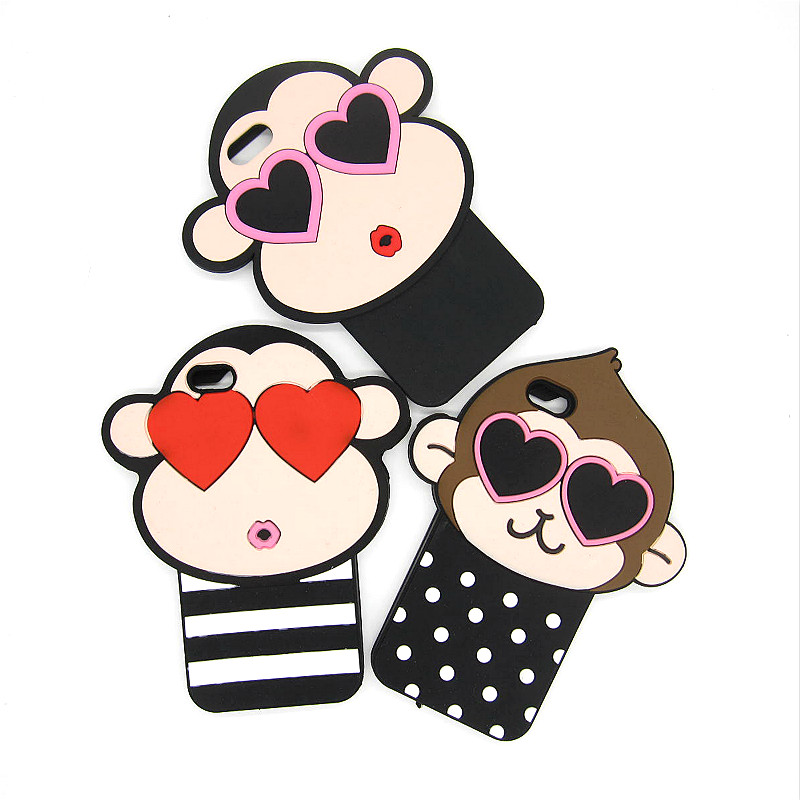 Fashion 3d Cute Cartoon Monkey Rubber Back Covers Skin For Apple