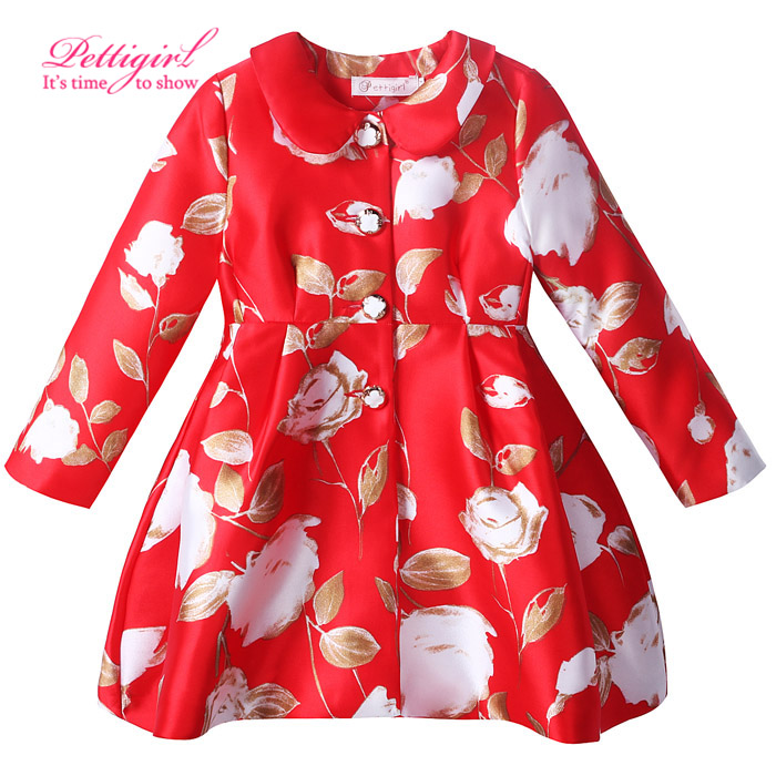 Pettigirl New Spring And Autumn Red Girls Jacket With Delicate Button Baby Floral Outerwear Boutique Kids Clothes for Christmas