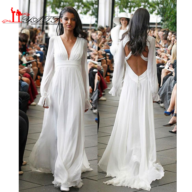Long sleeves backless hippie wedding dresses 2017 a line v for Plus size hippie wedding dresses
