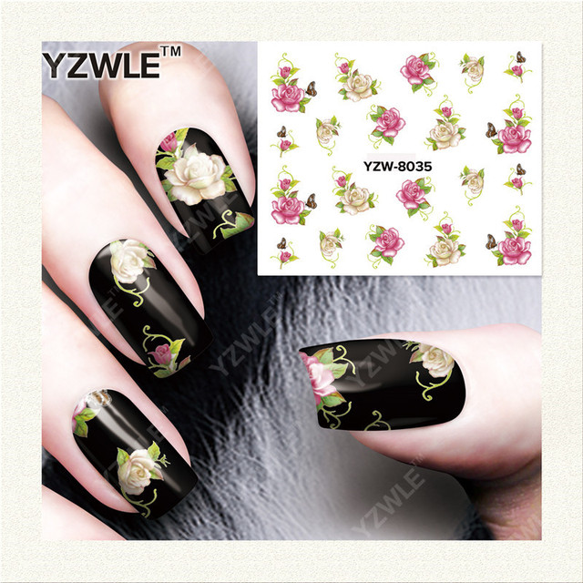 YZWLE 1 Sheet DIY Decals Nails Art Water Transfer Printing Stickers Accessories For Manicure Salon YZW-8035