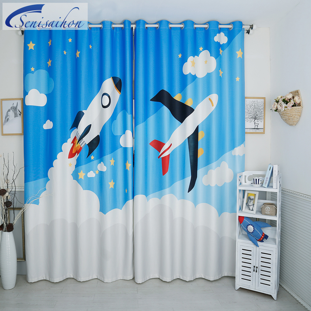 Light blue curtains - New 3d Blackout Curtains Cartoon Blue Plane Rocket Pattern Flannel Child Bedroom Curtain Window Tulle Curtains For Living Room
