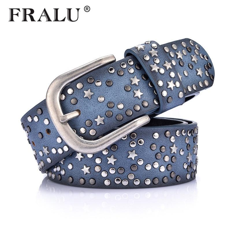 FRALU stylish womens Retro PU new cool rivet ladies waistband wide wild jeans Europe and the United States wind   belt     belt