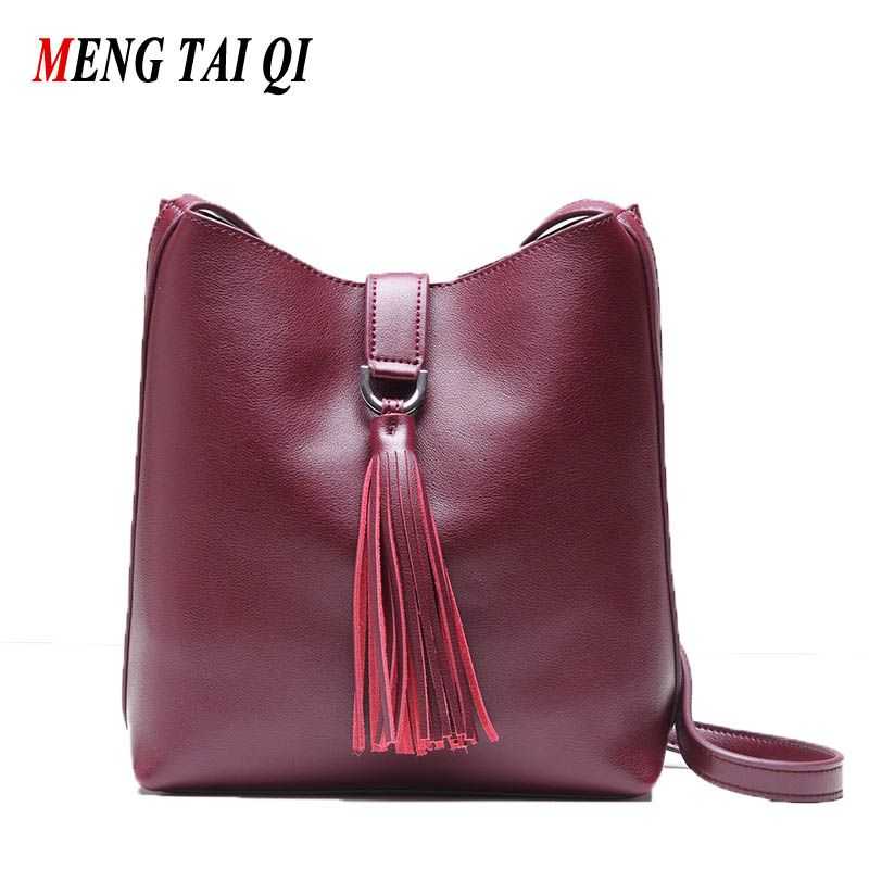 ФОТО New Arrival Women Bag Genuine Leather Cow High Quality Tassel Messenger Bags Crossbody New Fashion Hot Sale Bags Famous Brands 4