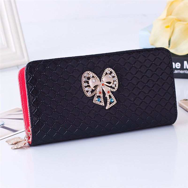 Big Capacity Ladies Long Purses High Quality Patent PU Leather Women Wallets Luxury Butterfly Zipper Day